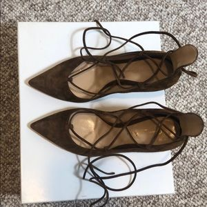 Gianvito Rossi brown suede lace up heels Lexi mid